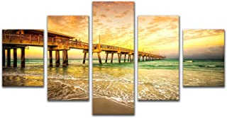 Modern Wall Art Decor Canvas Prints Photo Sunset Sea Landscape Picture Wood Bridge Paintings 5 Pieces for Bedroom Home Dec...