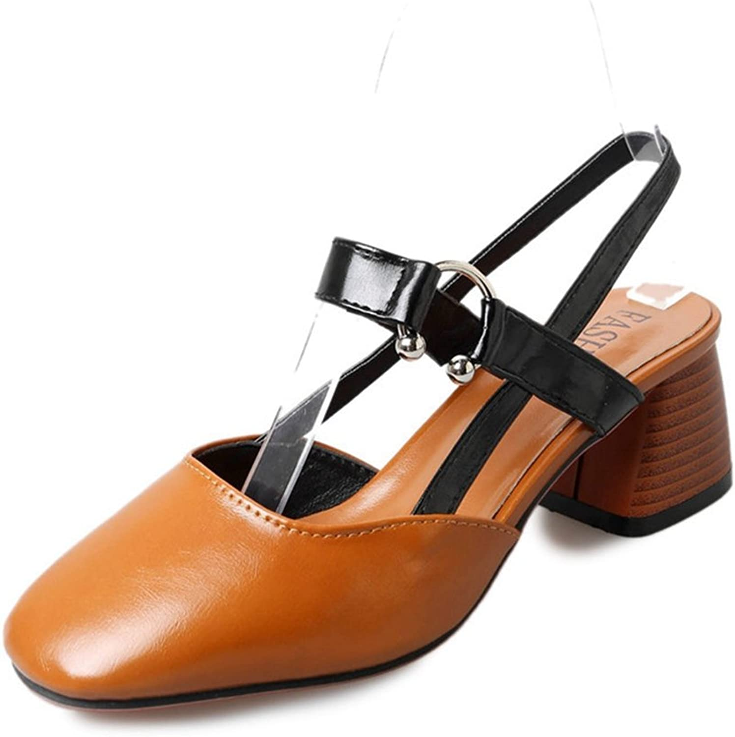 Zarbrina Womens Chunky Mid Heels Sandals Ladies Clogs Mules Square Toe Slingback Soft Ankle Strap shoes