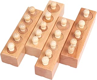 Thoth Montessori Knobbed Cylinder Socket Montessori Materials Wooden Cylinders Ladder Blocks Educational Wooden Toy Montes...