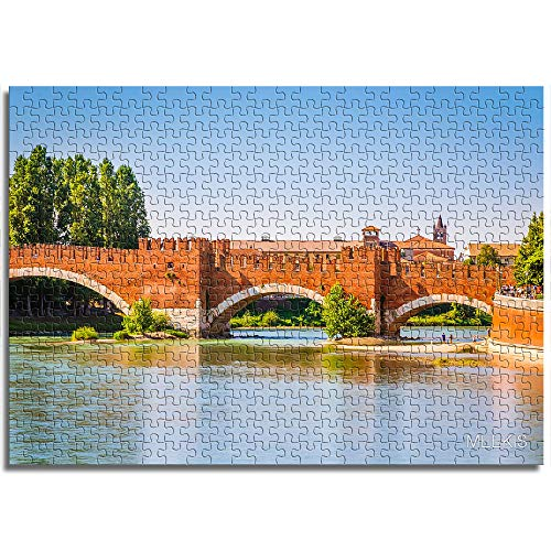 BOVIENCHE Jigsaw Puzzle 1000 Piece Wooden River Old Bridge Puzzles Game Interesting Children's Toy Is The Best Gift For Friends and Family -(52 X 38Cm)