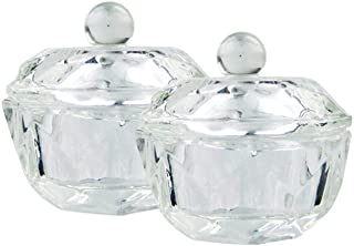 2Pcs Clear Nail Art Acrylic Liquid Powder Dappen Dish Bowl Glass Crystal Cup Glassware..