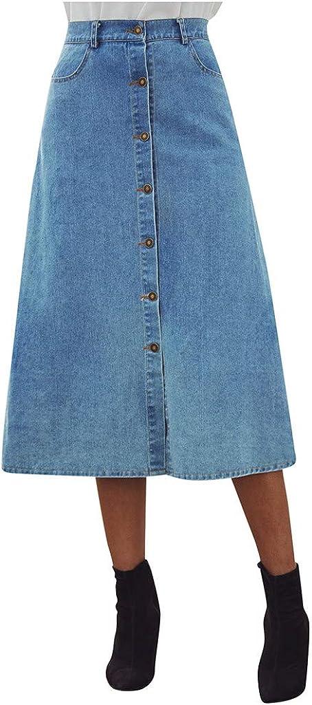 UOFOCO Women Casual Denim Button High Waist A-Line Midi Skirt with Pocket