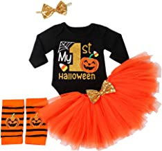 My 1st Halloween Thanksgiving Outfits Newborn Baby Girl Clothes Pumpkin Romper Tops+Tutu Tulle Skirt+Leg Warmth Dress 3PCS