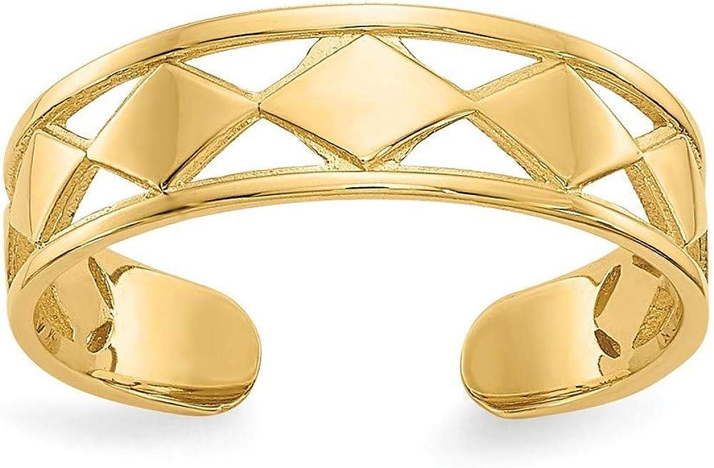Roy Rose Jewelry 14K Yellow Gold Diamond Shapes Toe Ring