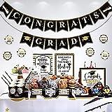 Decoraciones Graduación 2021 para Chocolatina Set de Bandera de Congrats Grad Cartel de Mesa de Postre Etiqueta Plegable para Alimento Tarjeta para Tienda Etiqueta de Taza (Negro)
