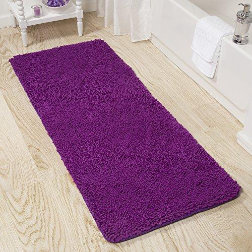 Lavish Home Memory Foam Shag Bath Mat 2-Feet by 5-Feet - Purple
