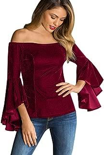 haoricu Women Blouse, Women Velvet Off Shoulder Blouse Long Sleeve Ladies T Shirt Loose Casual Work Tops