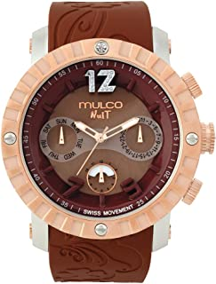 Mulco Ladies Nuit Lace XL Swiss Quartz Multifunctional Movement Women's Watch, 42mm Case with Mother of Pearl and Rose Gold Accents, Silicone Band