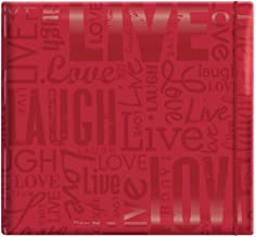 "MCS MBI 13.5x12.5 Inch Embossed Gloss Expressions Scrapbook Album with 12x12 Inch Pages, Red, Embossed ""Live, Laugh, Love""..."