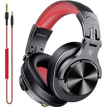 OneOdio DJ用 有線 ヘッドホン マイク付き モニターヘッドホン 密閉型 楽器練習 宅録 DTM A71 レッド