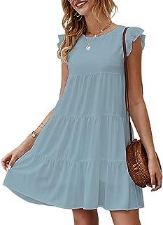KIRUNDO Women's Summer Dress Sleeveless Ruffle Sleeve Round Neck Mini Dress Solid Color Loose Fit Short Flowy Pleated Dress