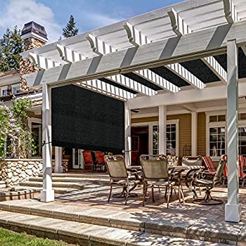 CAMWINGS Pergola Canopy Sun Shade Cover Replacement with Rod Pockets for Pool Garden Patio Gazebo 16x8 ft Black