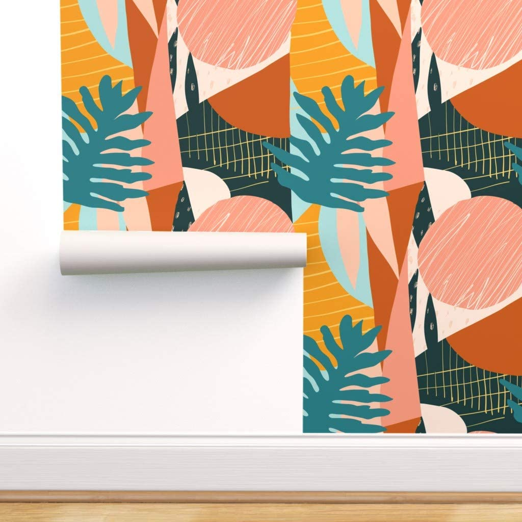 Spoonflower Peel and Stick Removable Cubist Cheap mail order shopping Wallpaper Large-scale sale Hawaiian
