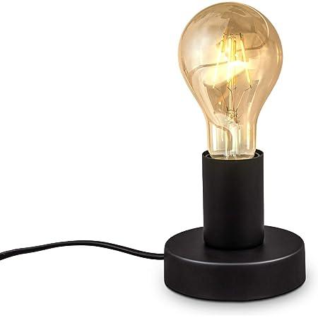 B.K.Licht Lampe de table rétro, lampe de lecture, métal noir mat, douille E27, câble avec interrupteur, lampe de chevet vintage Ø10cm