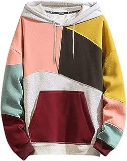Landscap Fashion Hoodies Men's Casual Color Block Plus Size O-Neck Patchwork Hooded Sweatshirt Pullover