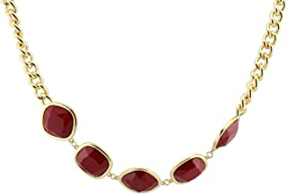 5 Stones Chain Bib Statement Necklace - Wine Red- Waist Chain/Necklace
