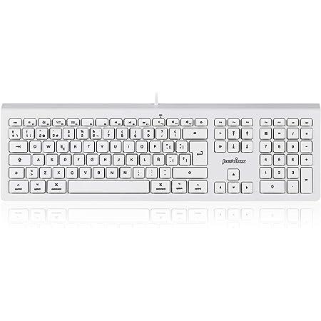 Perixx PERIBOARD 323 ES, Teclado estándar silencioso con retroiluminación, Compatible con Mac OS X, QWERTY Español, Blanco