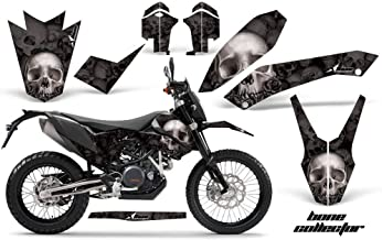 AMR Racing MX Graphics kit Sticker Decal Compatible with KTM 690 Enduro 2012-2018 - Bone Collector Black