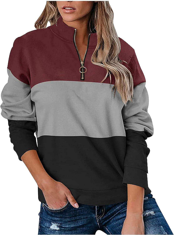 Xinantime Color Block Sweatshirt for Women Zipper Turtleneck Vintage Pullover Lightweight Tops Long Sleeve Casual Blouse