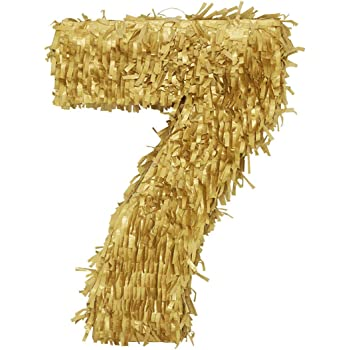 LYTIO Golden Number 7 Small Pinata Perfect for 7th Birthday Celebrations, Anniversaries, Party Supplies, Decorations, Centerpiece, Photo Props, (Seven Piñata)