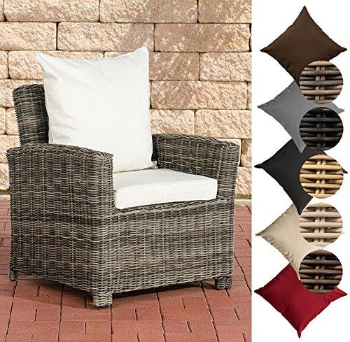 CLP Poly-Rattan Garten-Sessel FISOLO mit Armlehnen, 5 mm Rund-Rattan, ALU Gestell, Farbe:grau-meliert, Polsterfarbe:Cremeweiß