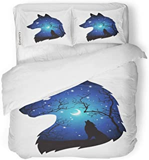 Tarolo Bedding Duvet Cover Set Double Exposure Silhouette of Wolf in The Night Forest Blue Sky Crescent Moon and Stars Tattoo Pagan Totem 3 Piece Twin 68