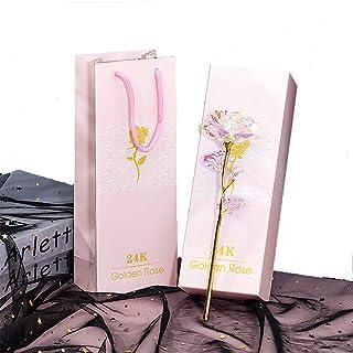 ALLOMN Rosa Flores Artificiales 24K Chapado en Oro Rosa con Caja de Regalo día de San Valentín Día de la Madre Cumpleaño...