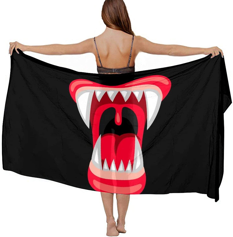 Women's Chiffon Vampire Blood Lip Mouth Beach Scarf Smooth Sunscreen Wrap Shawl Scarves Bikini Cover-Up Wrap Scarf Swimsuit Sarongs Summer Beach Cover Ups