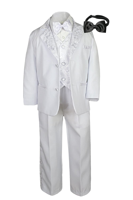 Formal Boy White Suit Paisley Notch Lapel Tuxedo Kid Teen Free Black Bow Tie (10)