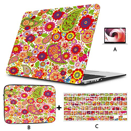 Computer Cover Colorful Flowers Print With Paisley And Poppies 28 Macbook Pro 2015 Cover Hard Shell Mac Air 11'/13' Pro 13'/15'/16' With Notebook Sleeve Bag For Macbook 2008-2020 Version