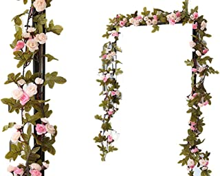 Lannu 2 Pack Artificial Rose Vine Flowers Fake Garland Ivy Flowers Silk Hanging Garland Plants for Home Wedding Party Decorations, (Pink &Champagne )