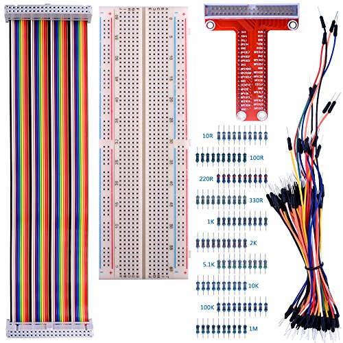 Per Raspberry Pi 3 Kit, Kuman 830 MB-102 Tie Points Solderless Breadboard + GPIO T Type Expansion Board + 65pcs Jumper Cables wires + 40pin Rainbow Ribbon Cable+100pcs resistance K73