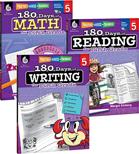 180 Days of Practice for Fifth Grade (Set of 3), 5th Grade Workbooks for Kids Ages 9-11, Includes 180 Days of Reading, 180 Days of Writing, and 180 Days of Math