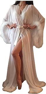 Women Sexy Feathers Collar Perspective Sheer Long Lingerie Robe Nightgown Bathrobe Pajamas Sleepwear