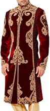 INMONARCH Mens IndianSuit Maroon Velvet Sherwani forMen Golden Embroidered SH0511