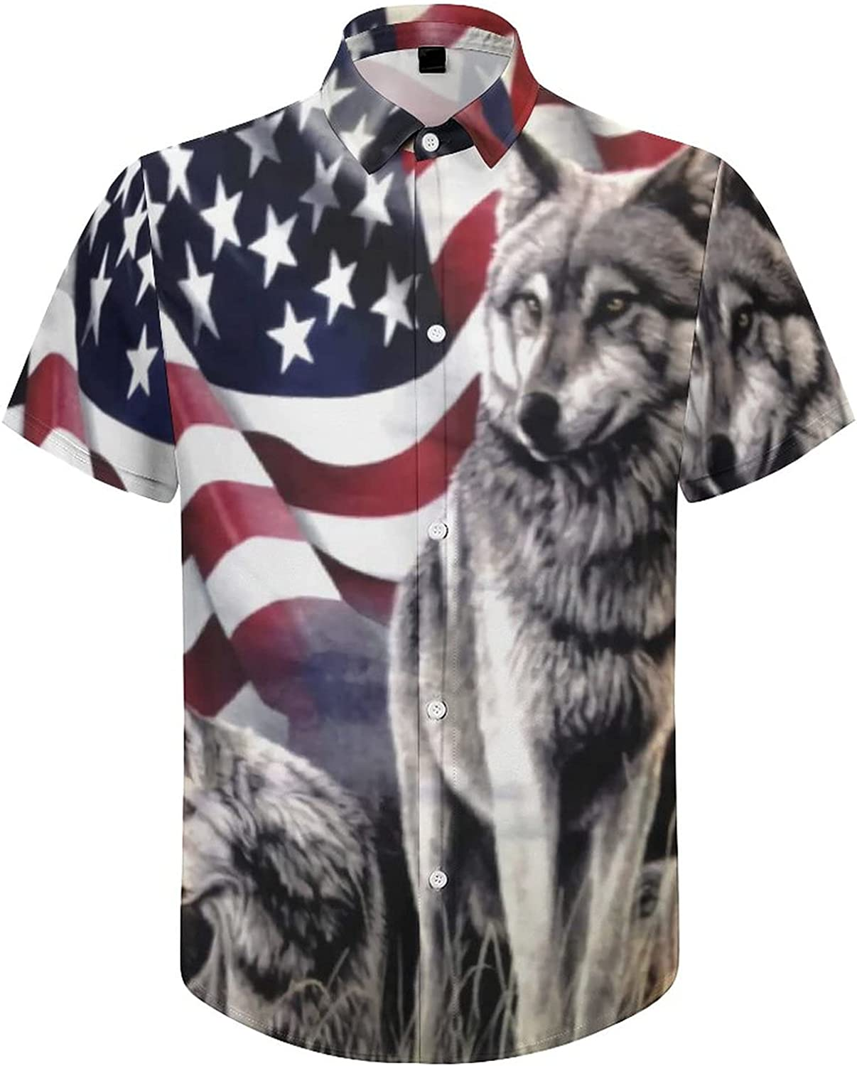 Men's Regular-Fit Short-Sleeve Printed Party Holiday Shirt American Flag Wolf