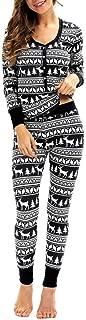 Women Matching Elk Long Sleeves Christmas Pajamas Set Top Blouse+Pants