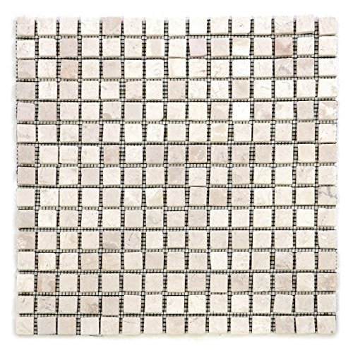 DIVERO 11 Fliesenmatten Naturstein Mosaikfliesen aus Marmor für Wand und Boden creme á 30 x 30 cm