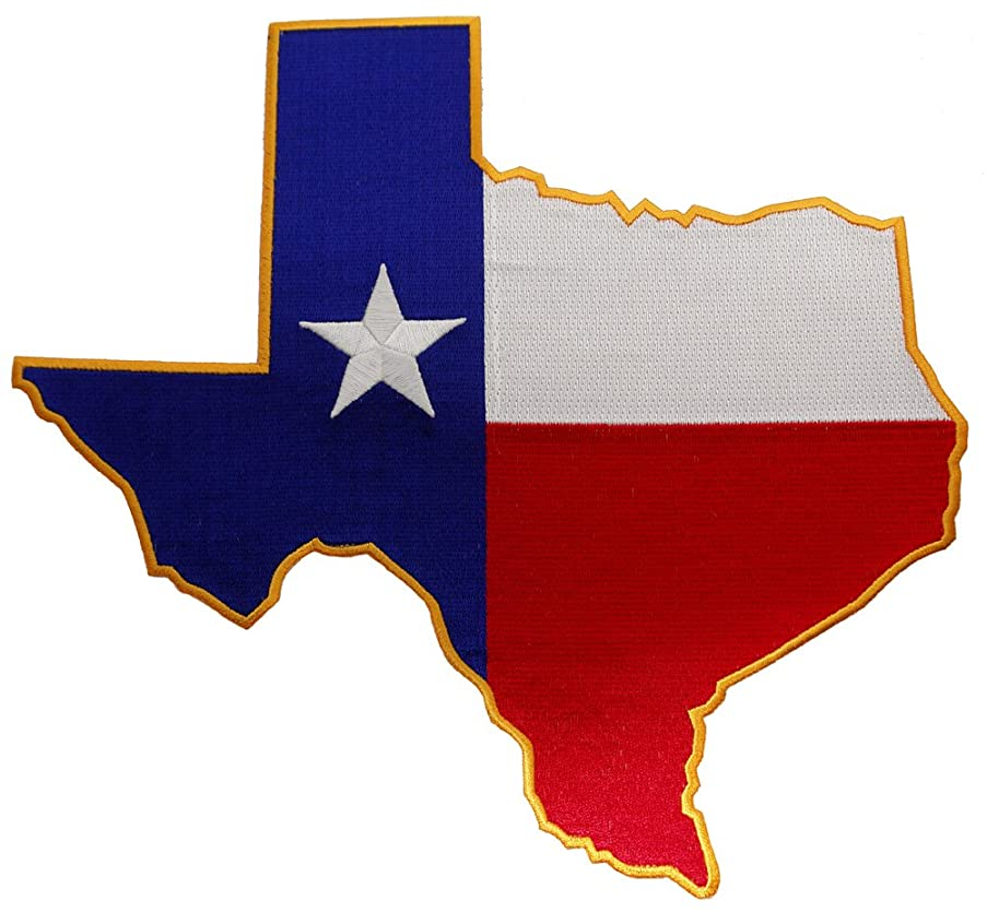 Large Texas Shape Flag Embroidered Patch Lone Star State Iron-On Emblem