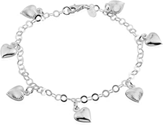 925 Sterling Silver Bracelet with Heart Charms 7.50