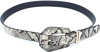 Cintura donna pitonata beige\nera con fibbia e placchette argento altezza 3 cm modello marcuzzi moda entra nei passanti