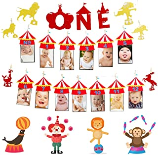 JeVenis Set of 2 Circus 12 Month Photo Banner The Big One Circus Birthday Banner Circus One Banner Carnival Photo Banner Circus Photo Banner Carnival 1st Birthday banner