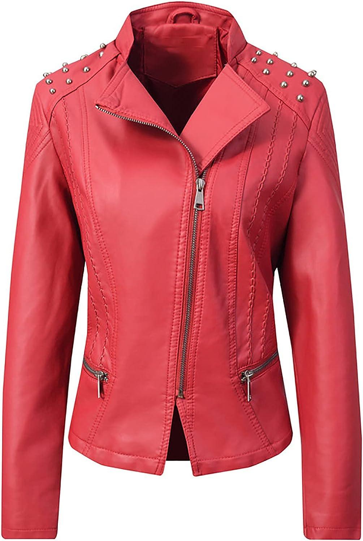 Women's Faux Leather Large-scale sale Jacket Classic S OFFicial store Lapel Rivet