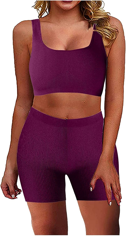 WSVVMQY 2021 Women Workout Sets 2 Piece Seamless Ribbed Tank High Waist Shorts Yoga Outfits