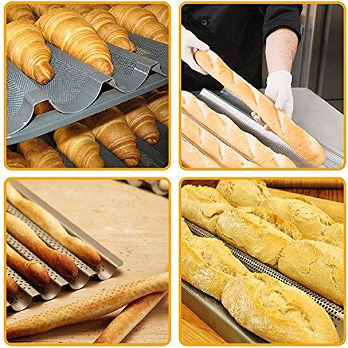 HTINAC Plaque Moule à 4 Baguettes, Plaque de Cuisson Moule - Anti-adhésif - Plaque à Baguettes Perforée - Réversible pour Biscuits Pâtisserie - 38 * 32.5 cm