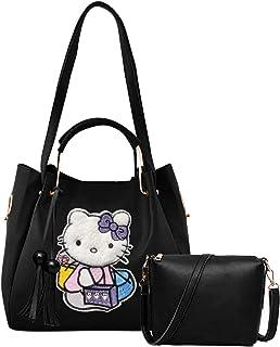 Envias Women's Leatherette Handbag & Sling Bags Combo (Black) (Set of 2)