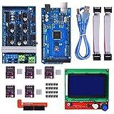 SHANGSHANG Zfuxiang STOR Kit de Controlador de Impresora 3D Mega 2560 UNO R3 Kits de Inicio + RAMPAS 1.6 + 5 PCS DRV8825 Conductor de Motor Paso a Paso + LCD 12864 Reprap