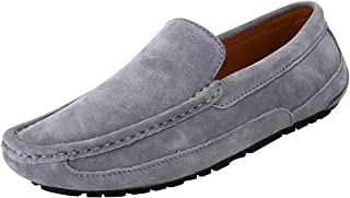 rismart Men's Casual Slip on Flats Penny Soft Suede Leather Loafers Shoes