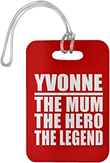 Yvonne The Mum The Hero The Legend - Luggage Tag Bag-gage Suitcase Tag Durable - Mother Mom from Daughter Son Kid Wife Athletic Gold Birthday Anniversary Christmas Thanksgiving