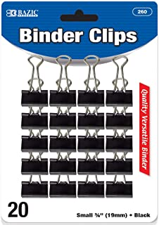 "BAZIC Small 3/4"" (19mm) Black Metal Binder Clip, Fold Back Paper Clamps Clips for Office School Supplies, Home Kitchen Sto..."